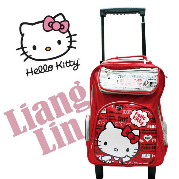 【Hello Kitty】 雙層拉桿書包/小學生後背拉桿書包406578