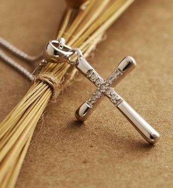 Tokyo Alice 925純銀十字架鋯石項鏈,項鏈飾品首飾銀飾甜美鎖骨鏈(s0000124)
