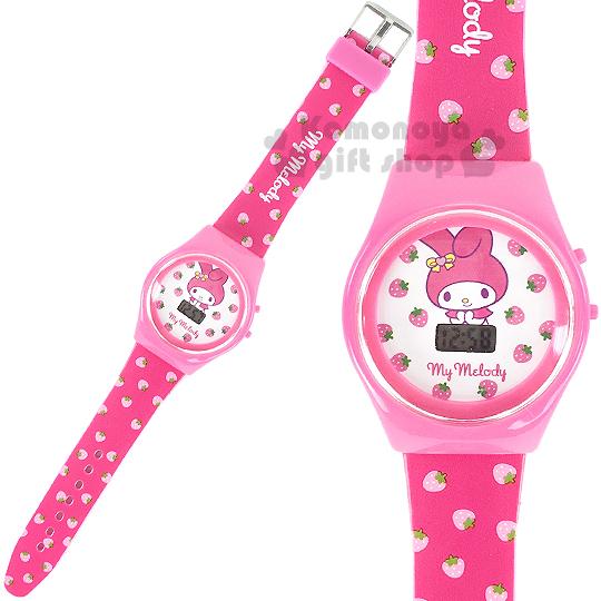 〔小禮堂〕美樂蒂 兒童電子錶《粉.草莓滿版》塑膠外殼包裝