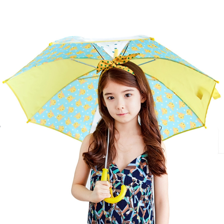 Lemonkid◆正韓可愛滿版卡通動物圖案點點果色造型兒童雨傘-黃色(黃x藍)