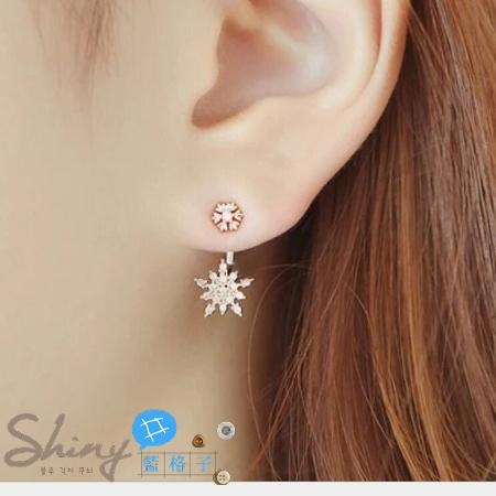 【DJZ3208】shiny藍格子-甜美可愛雪花水鑽後掛耳環