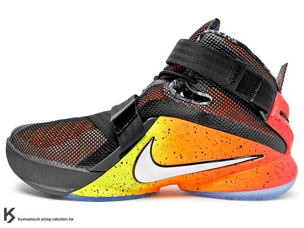 2015 NBA LeBRON JAMES 子系列代言鞋款 輕量化 限量發售 NIKE ZOOM SOLDIER IX 9 LMTD EP RISE 打出名堂 黑橘紅 漸層色 騎士隊 HYPERFUSE + FLYWIRE 鞋面科技 ZOOM AIR 氣墊 活動黏扣帶 耐磨橡膠底 (812571-098) !