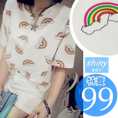 【D838】shiny藍格子-可愛滋味.彩虹圖案寬鬆圓領短袖T恤