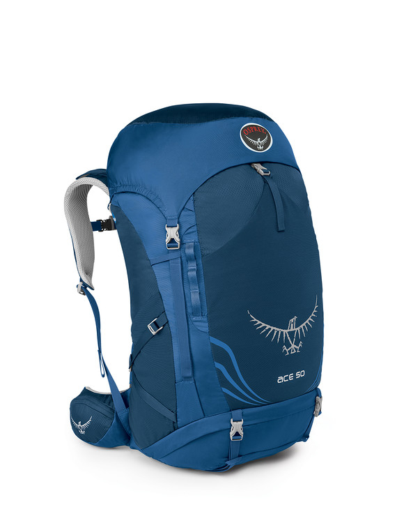 【露營趣】中和 附鋁合金手電筒 Osprey Ace 50公升8-14歲青少年專用 登山背包