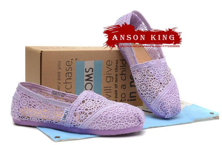 [女款] 國外代購TOMS 帆布鞋/懶人鞋/休閒鞋/至尊鞋 蕾絲系列  淺紫