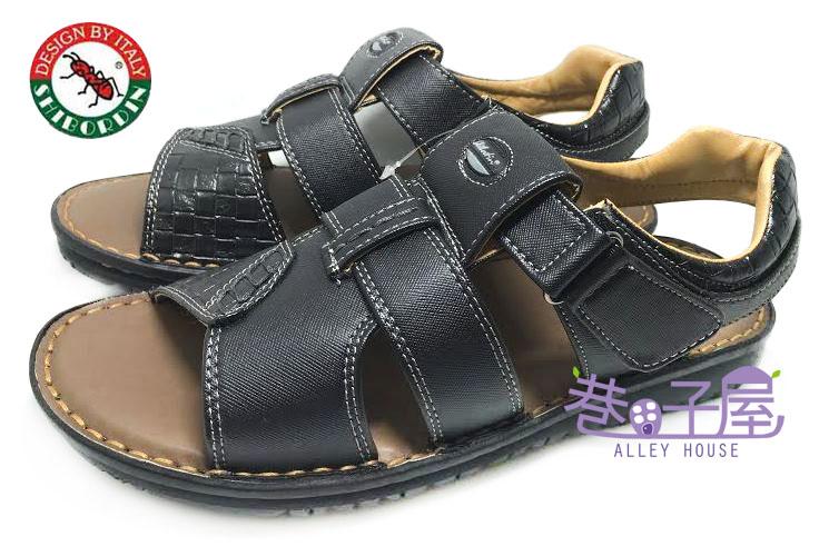 【巷子屋】SHIBORDIN喜伯登 紅螞蟻 男款手工縫製休閒皮質涼鞋 [1300599] 黑 台灣製造 超值價$298