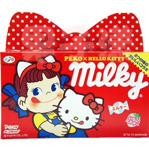日本不二家 PekoXHello Kitty Milky 蝴蝶結牛奶糖禮盒 內含二種口味