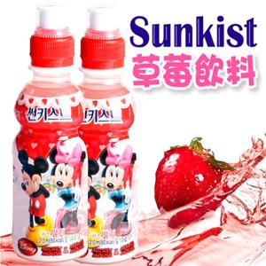 韓國Sunkist草莓飲料 果汁含量10% 迪士尼 米奇 米妮 限定包裝圖案