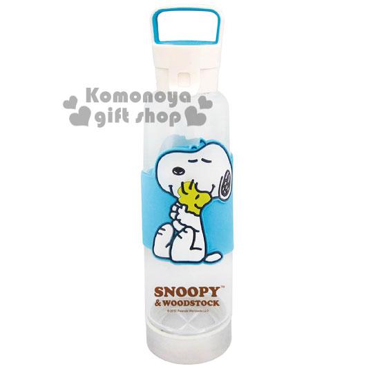 〔小禮堂〕史努比 玻璃雙蓋隨身瓶《水藍盒裝.坐姿.擁抱.550ml》防滑設計
