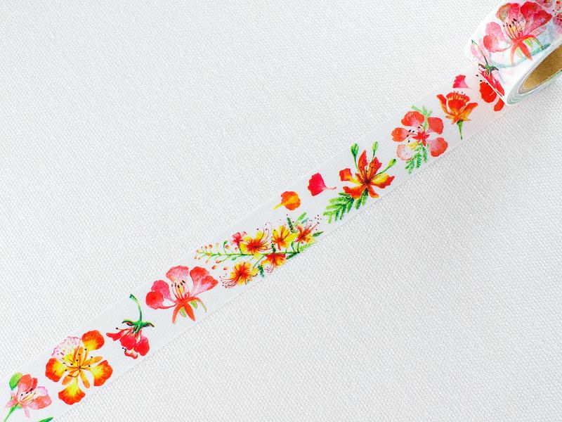 *小徑文化*日本和紙膠帶 | 台灣原創 | Chair,小空間 - 鳳凰花Flame flower