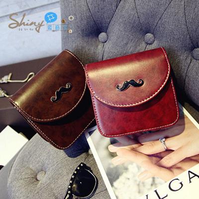 【P017】shiny藍格子-時尚打造‧新款時尚定型小胡子單肩小包包複古迷你斜挎包