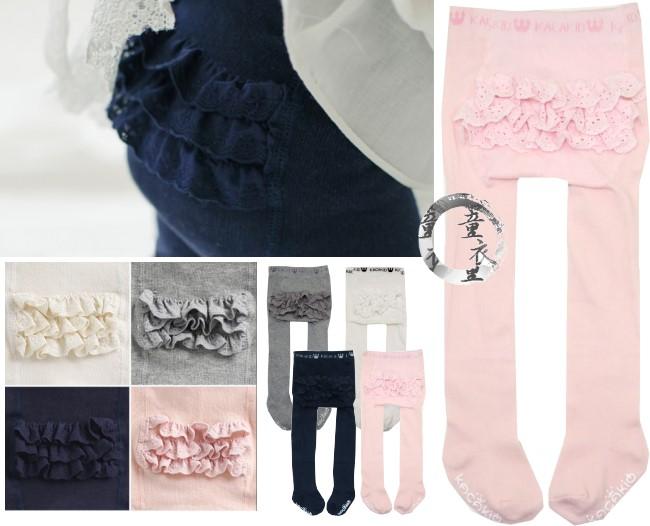 童衣圓【DD033】DD33三層花邊褲襪 蕾絲 蛋糕 素面 純色 素色 針織 彈性 褲襪 內搭 保暖 搭配洋裝~S.M號
