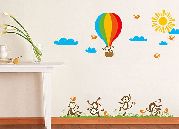 BO雜貨【YP1531】DIY可移動壁貼 牆貼 背景貼 兒童房設計佈置布置 兒童璧貼 猴子