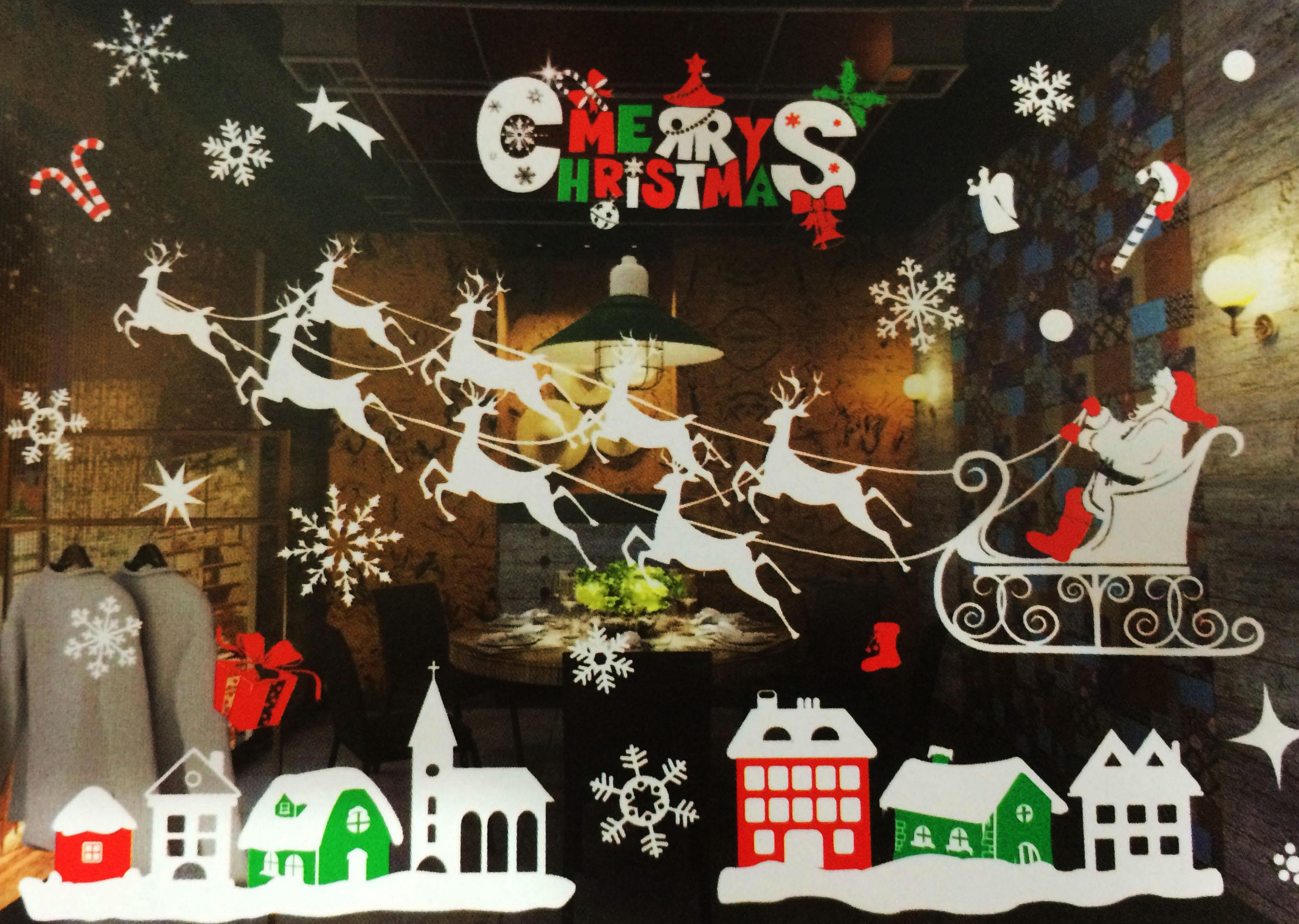 X射線【X150023】老人麋鹿靜電窗貼,聖誕節/聖誕擺飾/聖誕佈置/聖誕造景/聖誕裝飾/玻璃貼/牆面佈置/壁貼