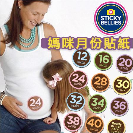 +蟲寶寶+【美國Sticky Bellies  】媽媽懷孕週期貼紙-孕媽咪月份貼紙《現+預》