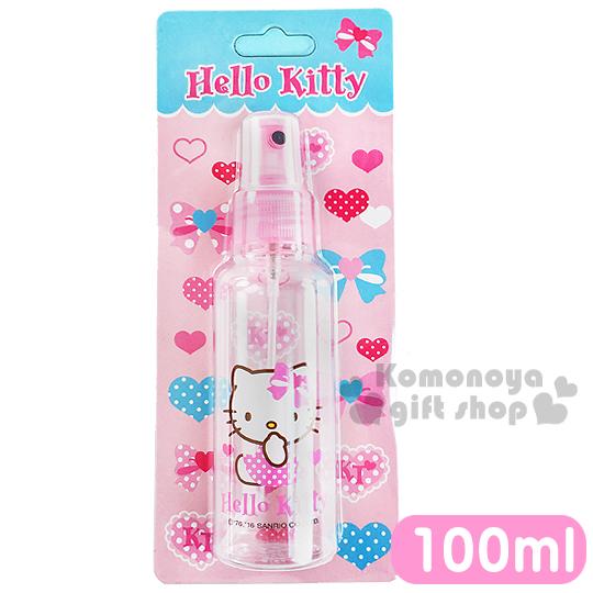 〔小禮堂〕Hello Kitty 噴霧式空瓶《透明.粉.側坐.愛心蝴蝶結.點點裙.100ml》可自由補裝內容物