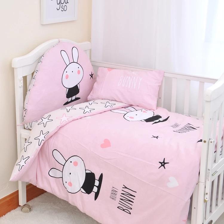 【純棉】BUNNY兔嬰兒床組(3件組/5件組/6件組)「尺寸皆可訂製」