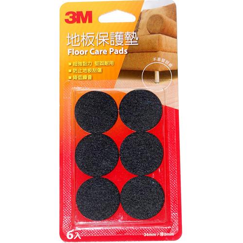 3M 地板保護墊(圓型黑色34mm)