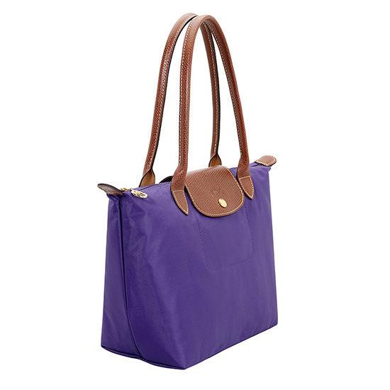 [2605-S號]國外Outlet代購正品 法國巴黎 Longchamp  長柄 購物袋防水尼龍手提肩背水餃包 水晶紫
