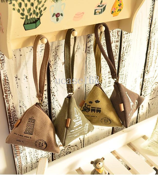 超可愛!!!文青風!!韓國復古帆布三角立體造型零錢包!!!