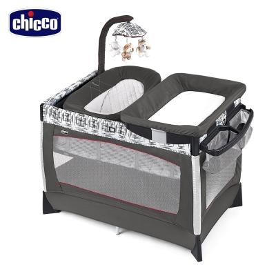 ★衛立兒生活館★Chicco  LULLAB Baby 多功能豪華遊戲床(織布紋/淺灰)