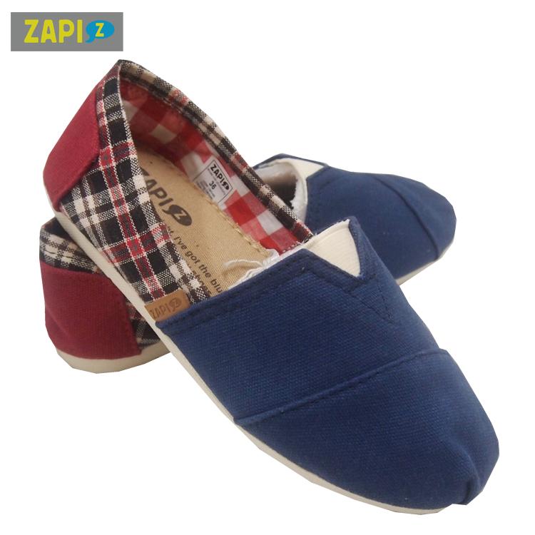 ZAPI休閒懶人鞋-學院格子藍
