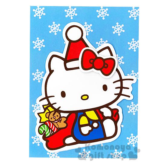 〔小禮堂〕Hello Kitty 造型聖誕卡片《戴聖誕帽.拐杖糖.小熊.星星》附信封