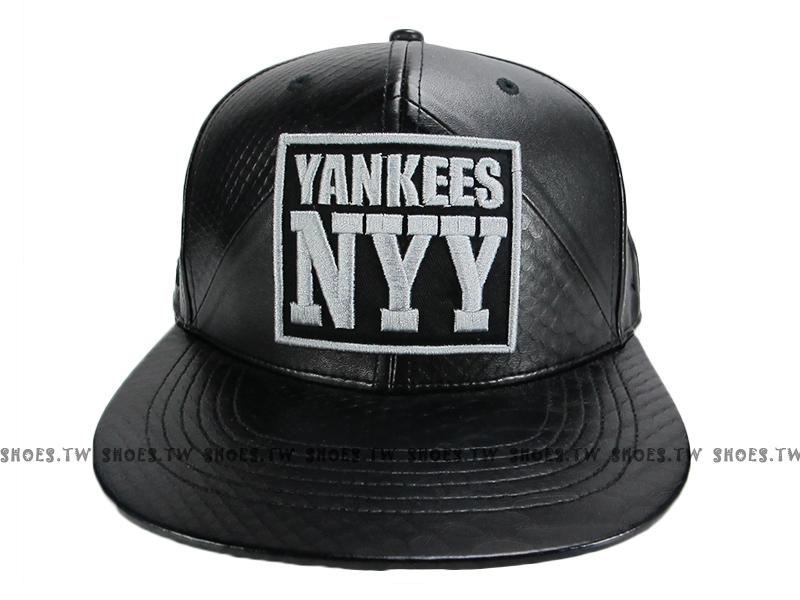 《降價7折》Shoestw【5562006-850】MLB 棒球帽 調整帽 潮流帽 紐約 洋基隊 皮革 黑銀繡標