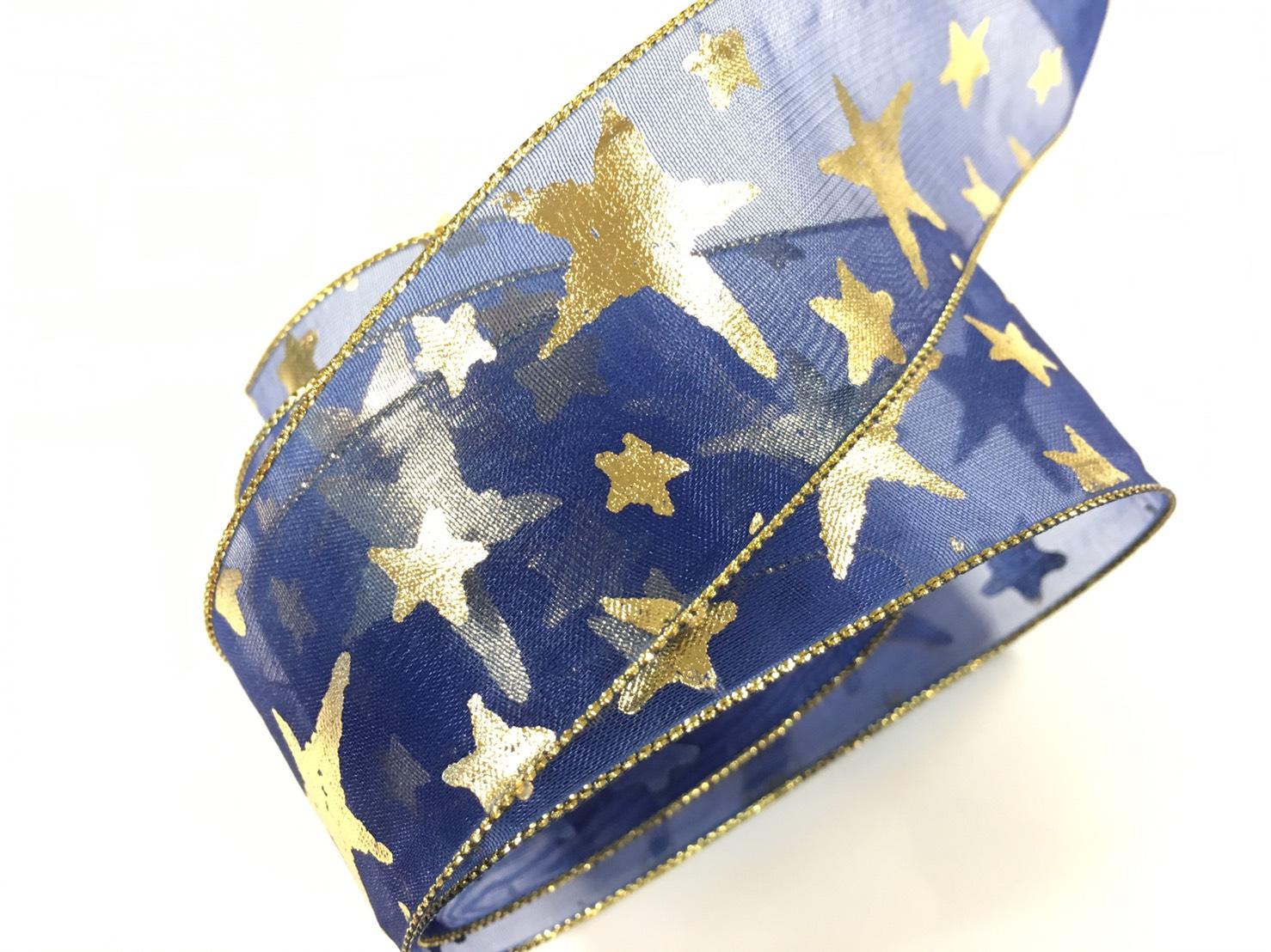網紗緞帶-聖誕彩色星星 38mm 3碼裝 (5色)