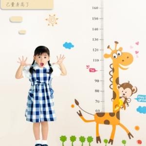 美麗大街【BF120E011】幼兒園卡通兒童房寶寶測量身高貼紙可移除身高尺貼紙