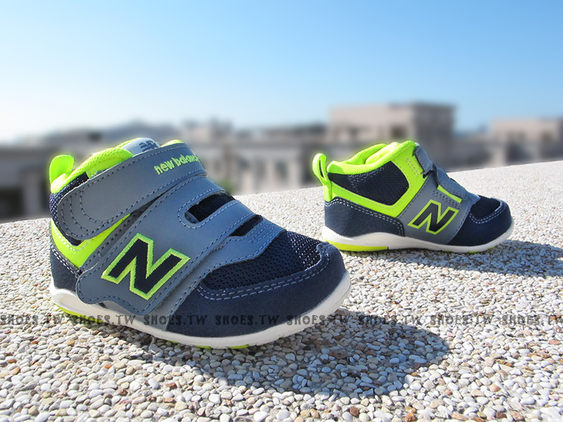 [11cm]《超值6折》Shoestw【FS574HGI】NEW BALANCE 574 童鞋 運動鞋 小童 深藍螢光黃 中筒