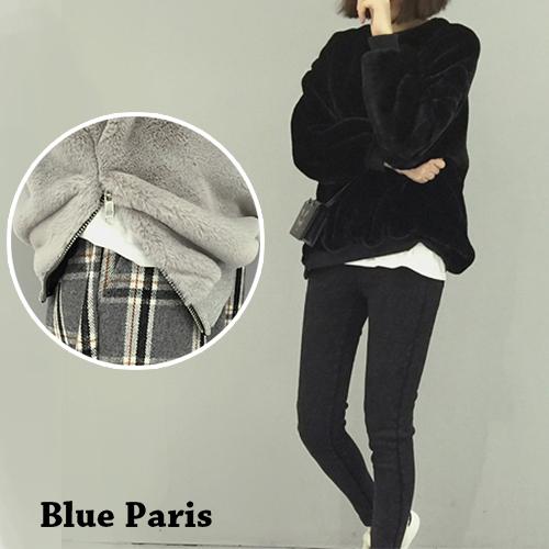 上衣 - 羅紋袖口側開拉鍊羊羔毛長袖T恤【29173】藍色巴黎《2色》現貨 + 預購