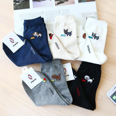 韓國 趣味貪玩狗狗短襪 玩球 骨頭 棉質中筒襪 襪子 百搭 造型襪 流行襪【N201254】
