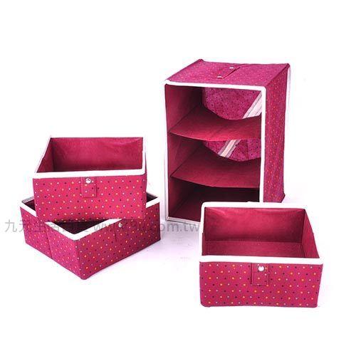 【九元生活百貨】點點3抽布質收納盒 抽屜置物盒 收納 布抽屜