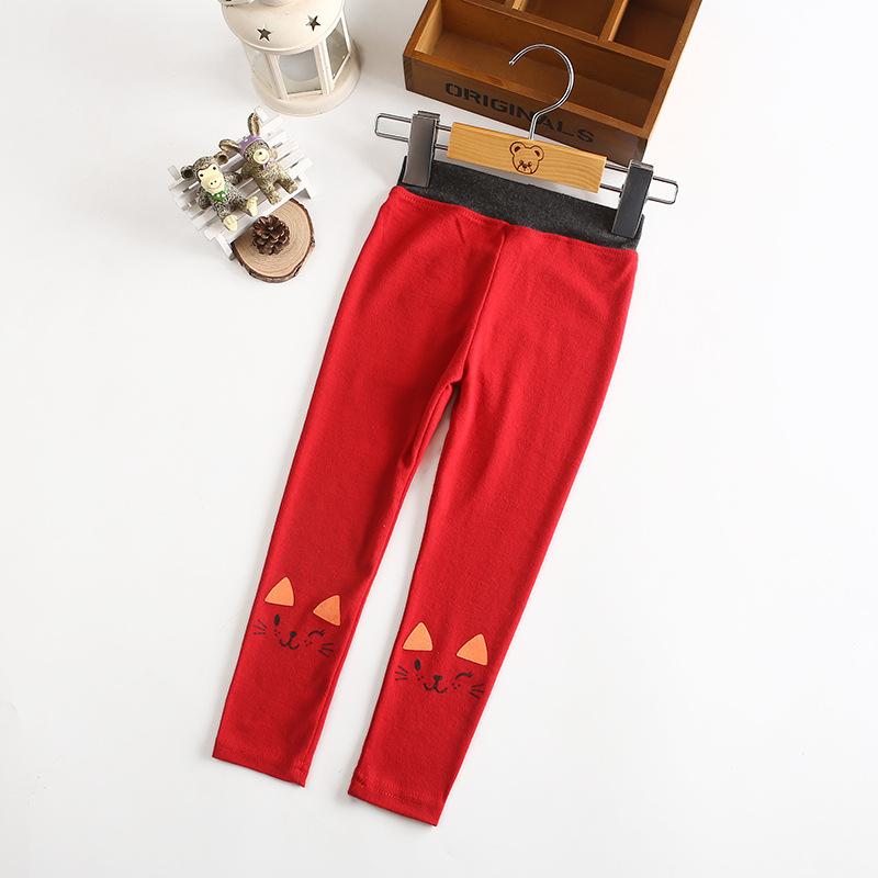 ♥ 韓版可愛貓咪女童內搭長褲-紅色