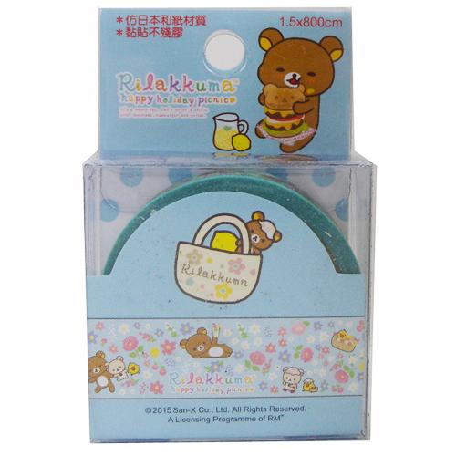 【真愛日本】15070900018  紙膠帶-拉拉熊野餐小花藍  SAN-X 懶熊 奶妹 奶熊 拉拉熊  隨機不挑款