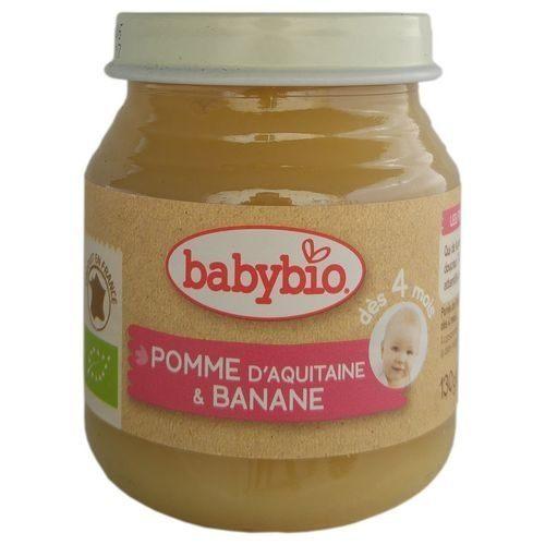 『121婦嬰用品館』法國 Babybio 有機蘋果香蕉鮮果泥(130g/4M+)