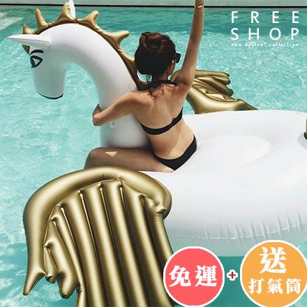 浮床 Free Shop【QFSWT9177】送充氣筒 免運 海洋沙灘派對海攤金色飛天馬造型游泳圈水上浮床浮圈