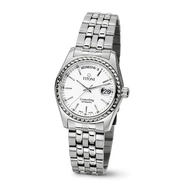 TITONI瑞士梅花錶787S-310Y宇宙Cosmo King系列機械腕錶/白面38.5mm