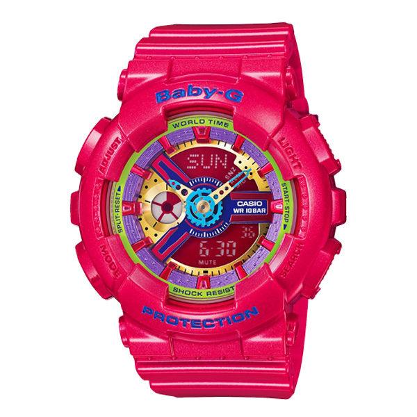 CASIO BABY-G BA-112-4A個性虹彩女孩雙顯流行腕錶/彩色面43.4mm