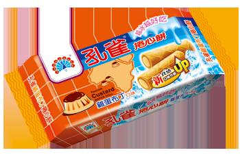 ●孔雀捲心餅63g-雞蛋布丁口味-單包【合迷雅好物超級商城】