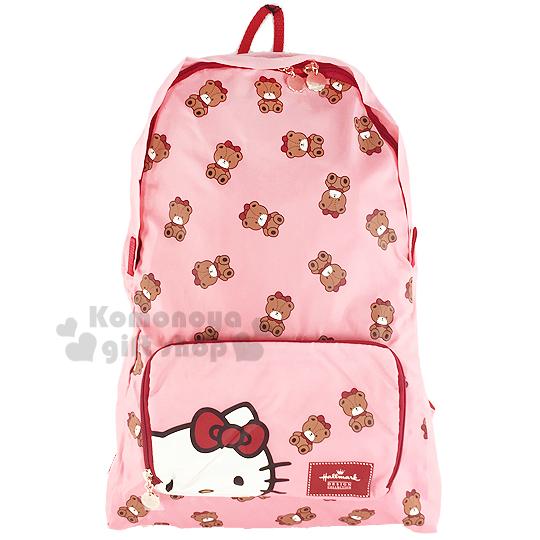 〔小禮堂〕Hello Kitty x Hallmark 可折疊後背包《粉.小熊滿版》可掛於行李箱桿上