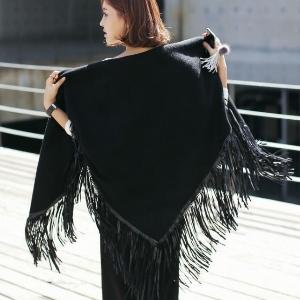 美麗大街【IR1568】秋裝新款甜美大三角形羊毛絨流蘇圍巾多用披肩小外套