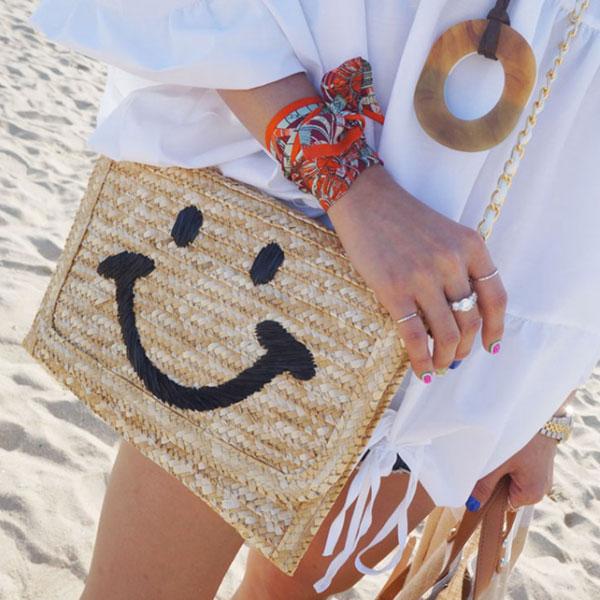 笑臉 藤編包 草編包 編織包 鍊條包 海灘包 手拿包 扁包 眼睛微笑 韓 Anna S.