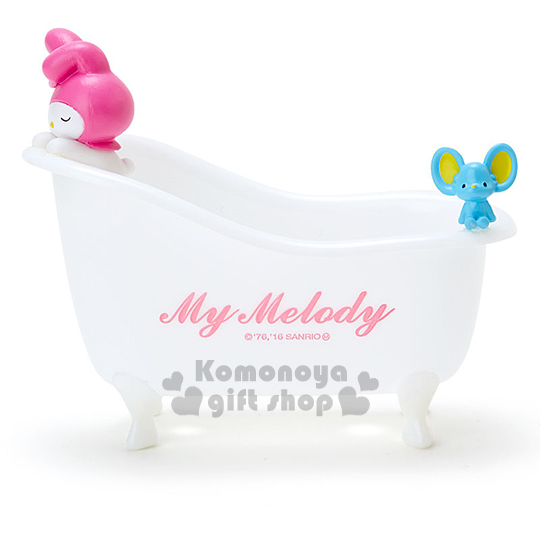 〔小禮堂〕美樂蒂 浴缸造型收納盒《小.白.老鼠.趴姿.閉眼睛》