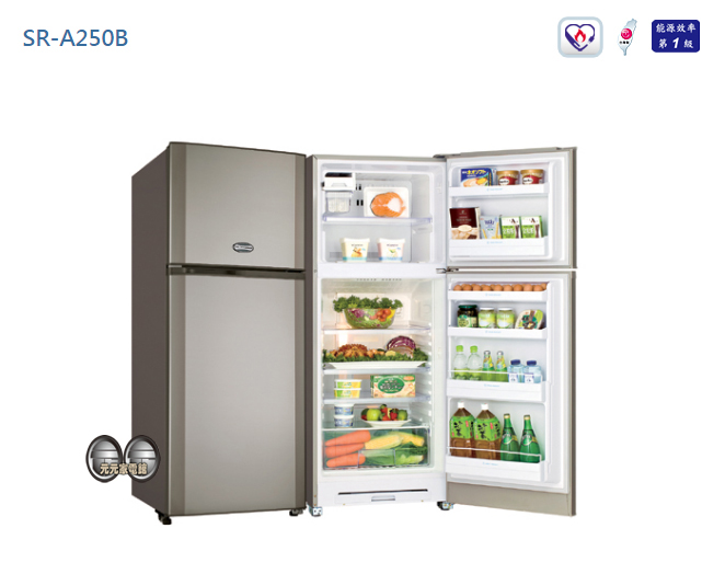 【SANLUX 台灣三洋】風扇雙門冰箱 SR-A250B 含配送+安裝~