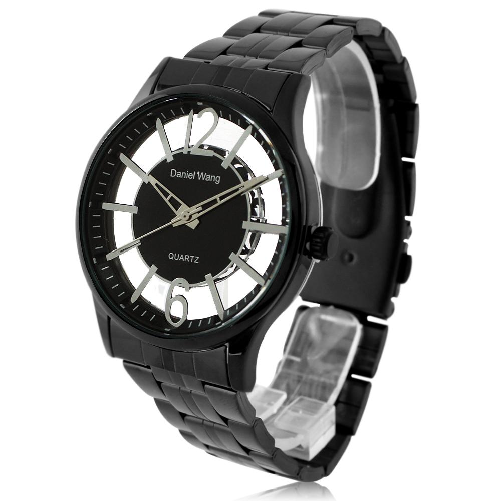 Daniel Wang 3148 中性炫彩鏤空數字黑色鐵帶錶