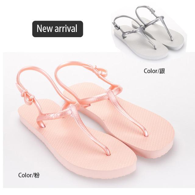 海灘涼鞋 [與你時尚]富發牌多彩多姿夾腳-銀色 海灘涼鞋