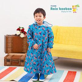 ◎Rainbooboo雨滴寶寶◎水藍美國星 兒童風雨衣【D1010】