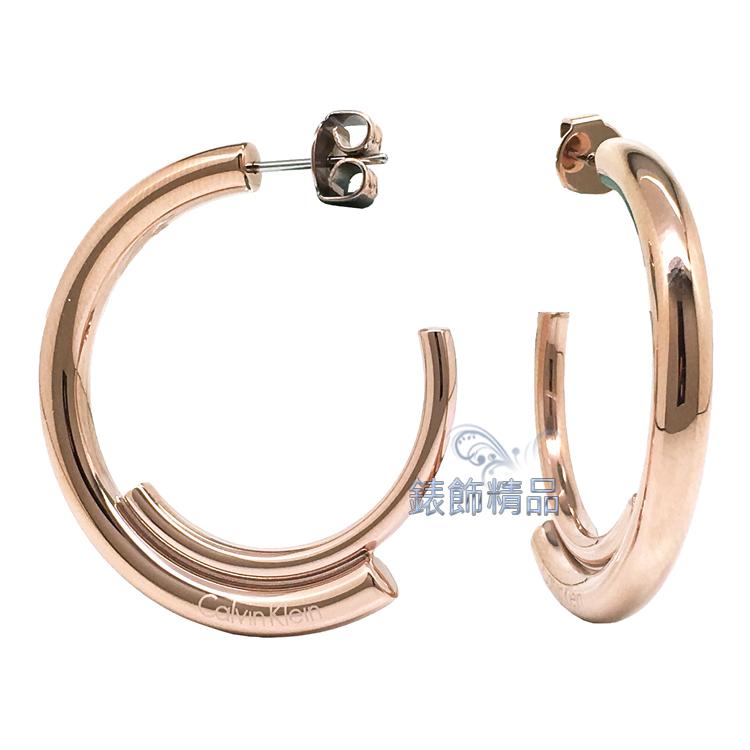 【錶飾精品】Calvin Klein 飾品 ck耳環316L白鋼 KJ5GPE100100-玫金 全新原廠正品 情人禮品